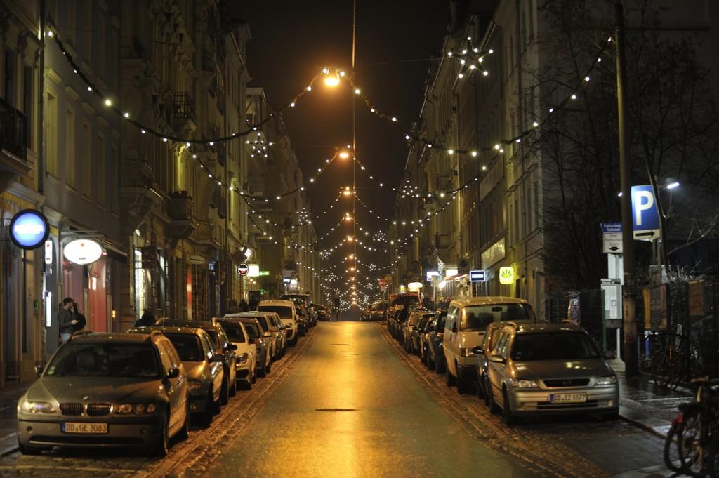 Weihnachtsbeleuchtung auf der Alaunstrasse